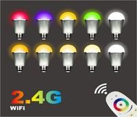 10pcs 9W 2.4Ghz RF LED RGBW Bulb + 1 piece 2.4Ghz RGBW 4-zone led touch remote(Mi-Light)