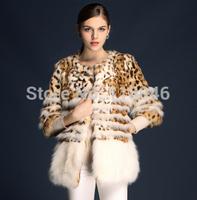 z78 New European fashion women real natural fur women short coat jacket womens luxury leopard printed jackets big overcoat