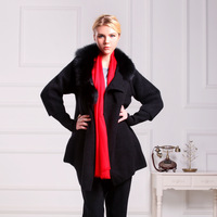 New Women's fashion cashmere fur cardigan high quality medium-long thickening sweater Women overcoat fox fur collar