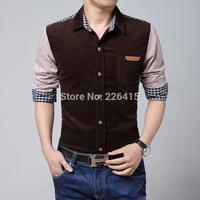 Autumn And Winter Men Casual Shirt Corduroy Patchwork Plaid Camisa Long-sleeve Mens Dress Shirts Plus Size M-5XL