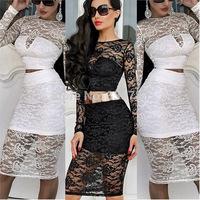 2014 latest dress designs women fashion flower print summer dress 2 pcs lace dress knee length casual dress roupas femininas