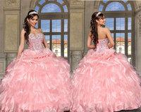 vestidos de quinceanera 2014 New Sweetheart Pink Crystal Beaded Ruffles Organza Quinceanera Dresses Masquerade Ball Gowns ZY032