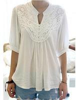 2014 New Fashion Women Stylish Grace Lace Splicing Crochet Flower Half Sleeve Casual T Shirt Plus Size Tops White Free Shipping