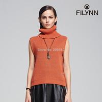 vest women's 2015 Spring autumn vintage fashionable casual sleeveless vest turtleneck sweater