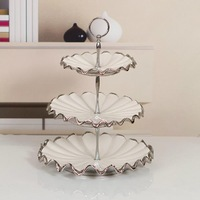 Quality Porcelain Multi Tier Plate Decorative Ceramics Tableware Stand Dish Craft Embellishment for Fruits, Cakes and Sweets