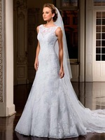 2014 Fashion Elegant Lace High Neckline A line Wedding Dresses with Buttons back ZY3027