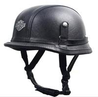 DOT Cruiser Helmet for Harley Retro Vintage Germany WWII Style Motorcycle Leather Half Helmet black/brown & Goggles