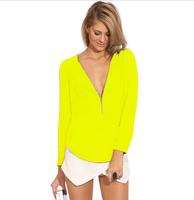 2015 Hot European stations Fashion mini sexy long-sleeved chiffon V-neck T-shirt, women's temperament high-quality