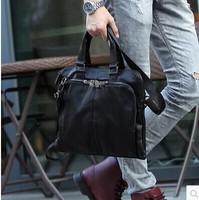 Hot selling high quality leather men large black genuine bag waterproof travel bags Business men's bags laptop messenger bag
