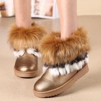 2014 autumn and winter women's slip-resistant shoes large fox fur short snow boots female disassembly villus
