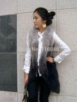 z98 hot sale Korean fashion real fox fur vest fashion women waistcoat big size slim ladies vests gilet warm slim coat jacket