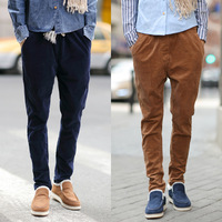 free shipping  male thickening harem pants corduroy casual pants slim skinny pants male