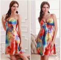 sexy silk nightgown big yard silk female pajamas _S01D