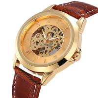 2014 new fashion cool gold brand design men skeleton clock luxury leather mechanical self wind wrist dress business watch gift