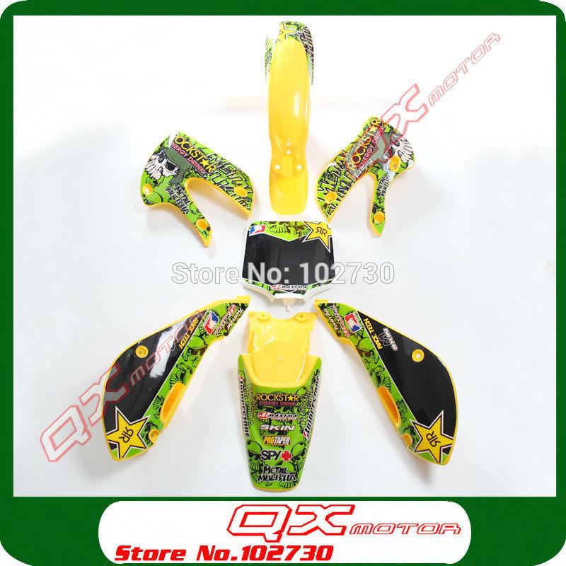 Kayo Apollo Bosuer Xmotos GPX SSR PITSTERPRO ORION ATOMIK Dirt Pit Bikes Plastic kit + 3m graphics Sticker Kit KX65 KLX110 style(China (Mainland))