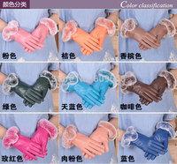 16 colors new fashion women's genuine leather sheepskin luxury gloves rabbit fur warm gloves 319