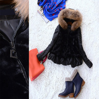 2014 Luxury Warm Women's Winter Outwear Coat with Raccoon Fur Hat wadded jacket fur jacket