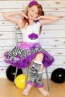 2015 new arrival young girl zebra pettiskirt festival fashion purple trim extra large size classic style older kids skirt