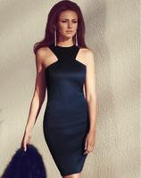 2015 Women  Sheath Bandage Dress  Sexy Nightclub Party  Dresses Back zipper Black Dark Blue 2 colors   KX3
