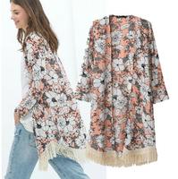 European Style ZA Fashion women flower print fringed long chiffon kimono cardigan blouse lace tassel shirts ladies floral coat