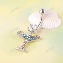 momentize nicer Multicolour Martini Glass Dangle Rhinestone Navel Belly Button Body Piercing 02 fashionable