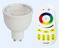 one piece of 4W 2.4Ghz RGBW GU10 LED spotlight + one piece of 2.4Ghz RGBW 4-zone touch remote(Mi-Light)