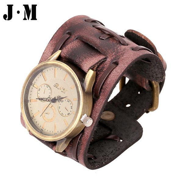 J&M- Character Genuine Leather Men Punk Bracelet Watch Wristband Belt Buckle,Wide Cuff Wrap Quartz Clock Watch Mens Casual Watch(China (Mainland))