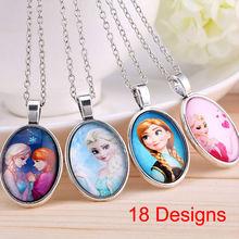 2014 nouveau mode vintage Frozen cartoon Anna Elsa pendentifs longue chaîne collier bijoux cadeau pour femmes filles accessoires(China (Mainland))