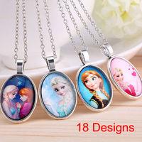 2014 New fashion vintage Frozen cartoon Anna Elsa pendants long chain necklace jewelry gift for women girls dress accessories