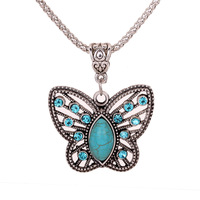 Retail-Free shipping Christmas gift,Yazilind Jewellery,Antique Tibetan Silver Butterfly Crystal Turquoise Chain Necklace