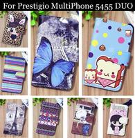 Luxury Cell Phone Accessories print cartoon Case flip pu leather case for Prestigio MultiPhone 5455 DUO ,gift