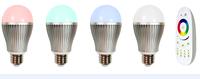 4pcs 9W 2.4Ghz RF LED RGBW Bulb + 1 piece 2.4Ghz RGBW 4-zone led touch remote(Mi-Light)