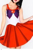 new costumes lolita dress vestido women Blue Sailor Moon Digital Print flare Dress Uniform LC8873 roupas femininas dear-lover