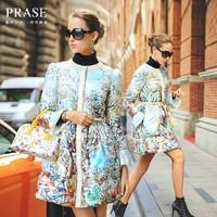 Prase women's 2014 winter digital print down coat female coat medium-long down slim outerwear