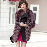 Top quality European fashion women genuine natural sliver fox fur long coat jacket elagant gifts furs overcoat plus size coats