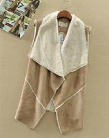 Female Warm Vests Casual Cardigans Single Manteau 2014 Suede Fabric Cotton Vest Jacket Coat Fashion Women Wear Outwear T22-15