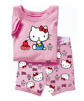 T0130 2015 New design Cake 100% Cotton Children's pajamas ,Baby short sleeve pajamas,Kids pyjamas boys girls sleepwear baby wear
