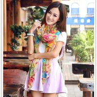 New Brand Desigual Scarf Fashion Pashmina 2014 Hot Sale Flower Printed Soft Silk  and Shawls
