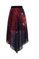 Fashion Galaxy Stars Digital C Pattern Skirts Irregular Elastic Waist Long Chiffon Skirt Drop Shipping 55161