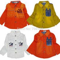 [April's]fashion kids clothing,spring boys shirt embroidered cotton shirt  children long sleeve shirts srtipes  A13122
