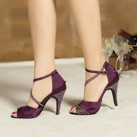 Customized Women's Satin Crystal Ankle Latin Dance Sandals Shoes(More Colors)