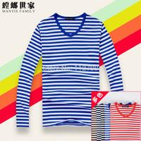 2014  Free Shipping New  Fashion Men's long Sleeve Stripe T Shirt Casual Male O-neck Sailor Tops Navy T-Shirt