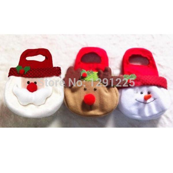 Adorable Christmas Candy Gift Bag Decor Reindeer Snowman Santa Claus Shape Gift ILCn(China (Mainland))