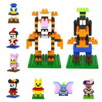 128pcs/lot LOZ Cartoon Diamond Granule Blocks Builing Bricks Educational DIY Set Toys for Children Gift Winnie/Minnie/Goofy