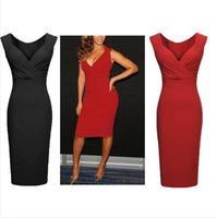 Womens Ladies Sexy V-Neck Bodycon Cocktail Party  Slim Dress Pencil Dress plus size