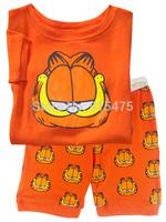T068 2015 New Garfield design 100% Cotton Children's wear,Baby short sleeve pajamas,Kids pyjamas boys girls sleepwear set 6set/l