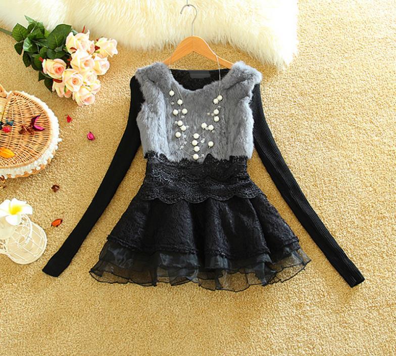 2015 New Fashion Fall Winter Slim Casual Dress Lace Sweet Bowknot Long sleeves Real Rabbit Fur Princess Dress YM09(China (Mainland))