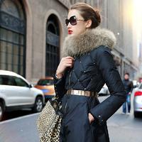 Prase women's 2014 winter down coat luxury fur collar rivet female medium-long down coat outerwear