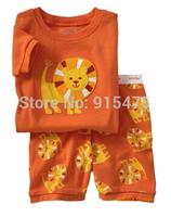 T0108 2015 New lion design 100% Cotton Children's wear ,Baby short sleeve pajamas,Kids pyjamas boys girls sleepwear set 6set/lot