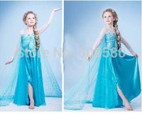 1 Pcs Retail,Children Girl Dressing Frozen Elsa Long Tail Cape Blue Dress For 2-7 Year Kids